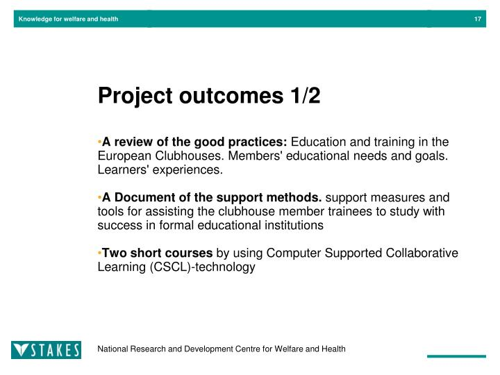 Project outcomes 1/2