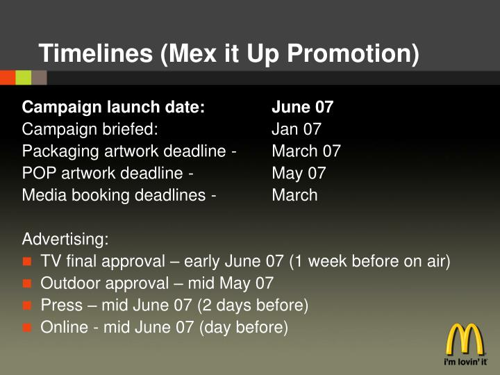 Timelines (Mex it Up Promotion)