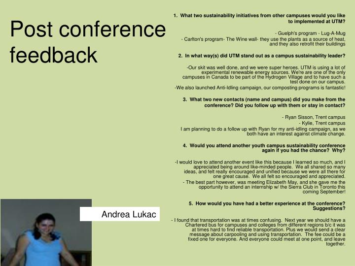 Post conference feedback