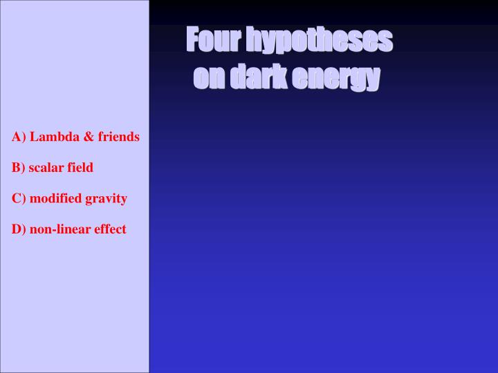 Four hypotheses