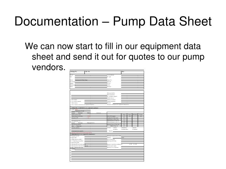 Documentation – Pump Data Sheet