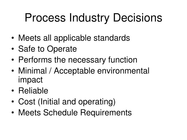 Process Industry Decisions