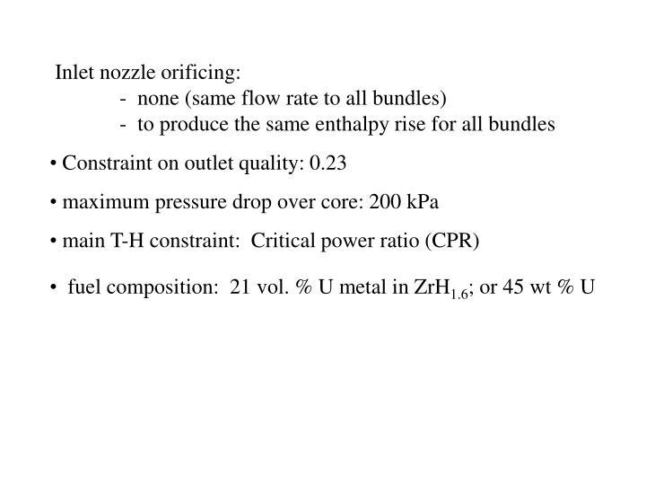 Inlet nozzle orificing: