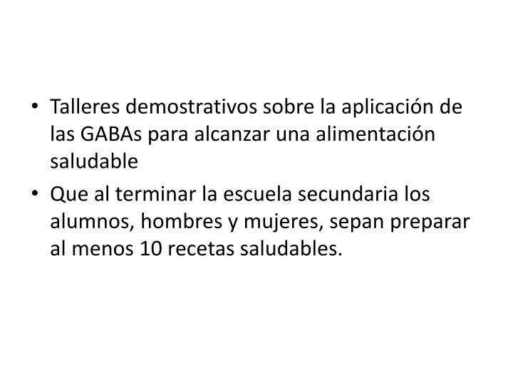 Talleres demostrativos sobre la aplicación de las GABAs para alcanzar una alimentación saludable