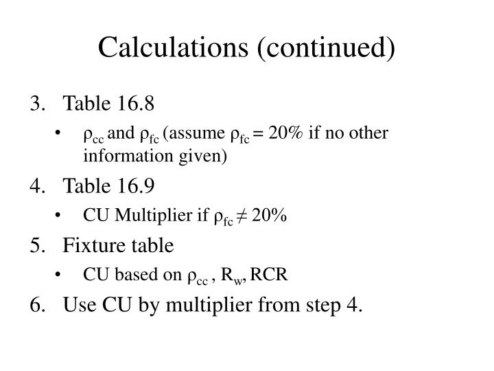 Calculations (continued)