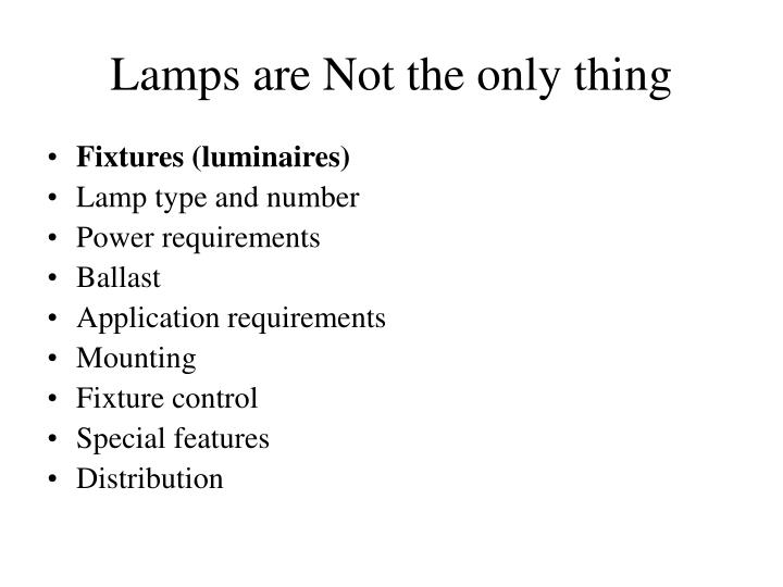Lamps are Not the only thing