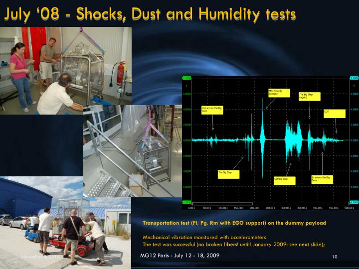 July '08 - Shocks, Dust and Humidity tests