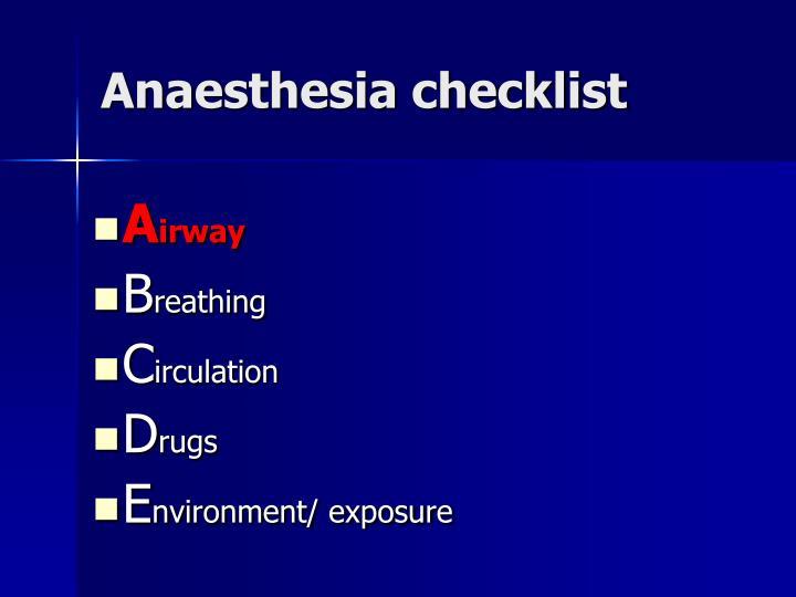 Anaesthesia checklist