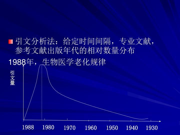 引文分析法:给定时间间隔,专业文献,参考文献出版年代的相对数量分布