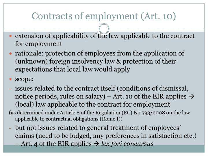 Contracts of employment art 10