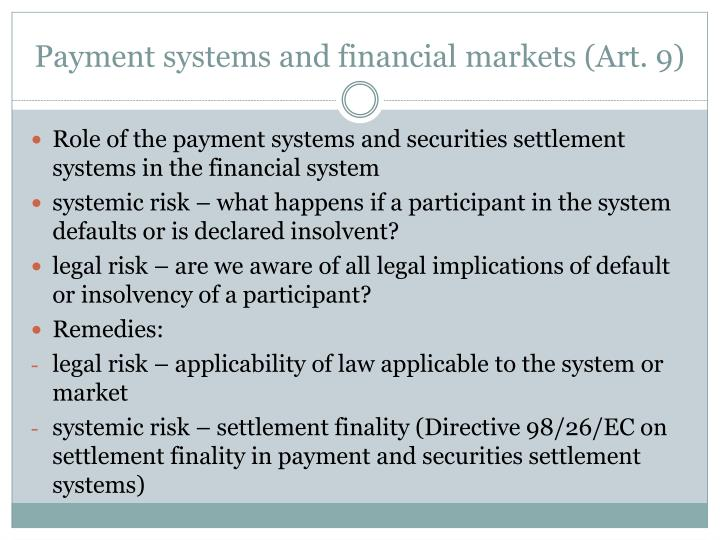 Payment systems and financial markets art 9