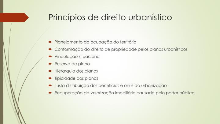 Princípios de direito urbanístico
