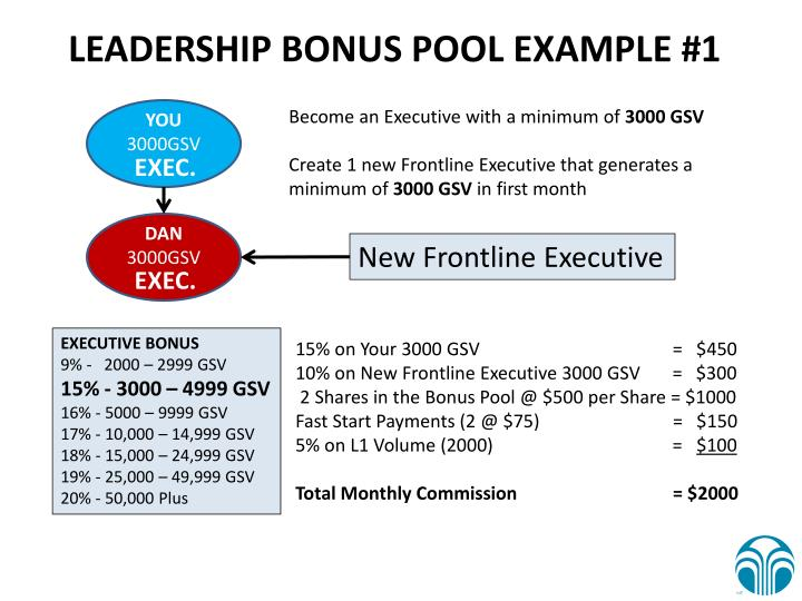 LEADERSHIP BONUS POOL EXAMPLE #1