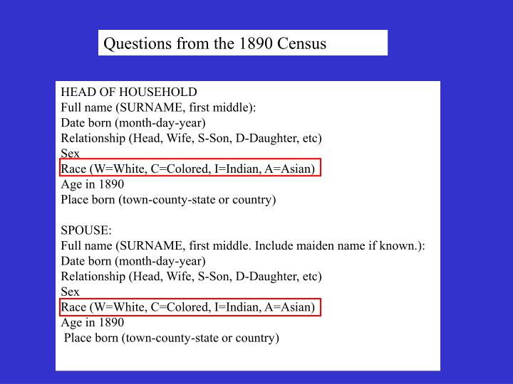 Questions from the 1890 Census
