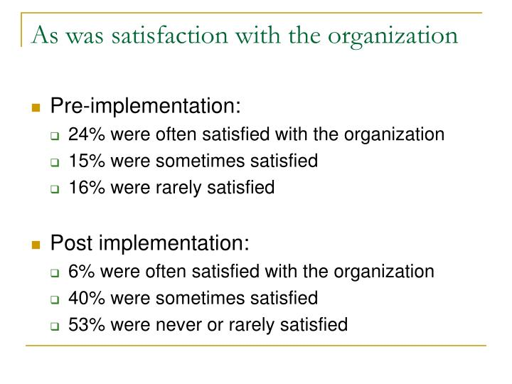 As was satisfaction with the organization