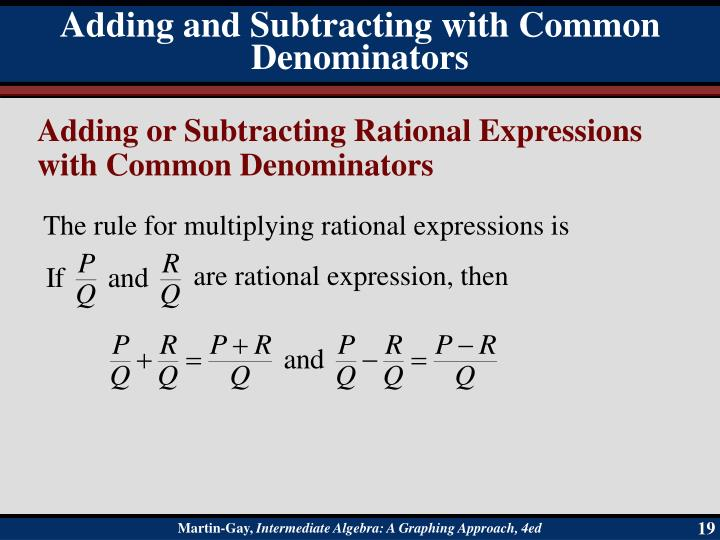 Adding and Subtracting with Common Denominators