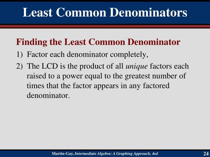 Finding the Least Common Denominator