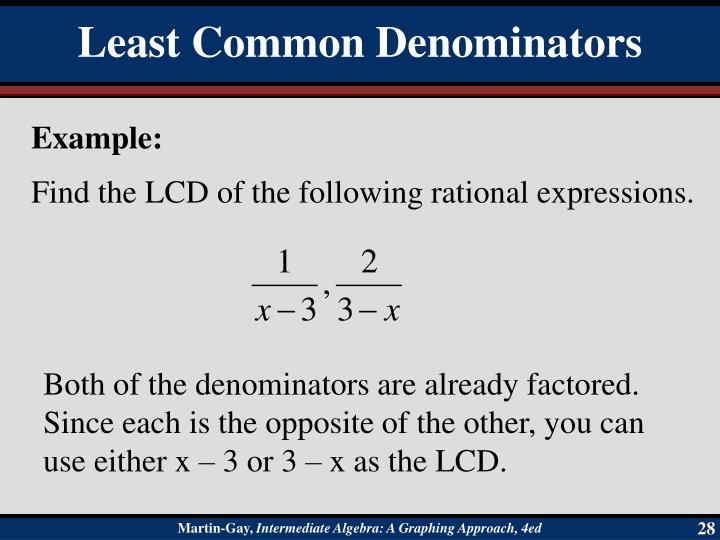 Find the LCD of the following rational expressions.
