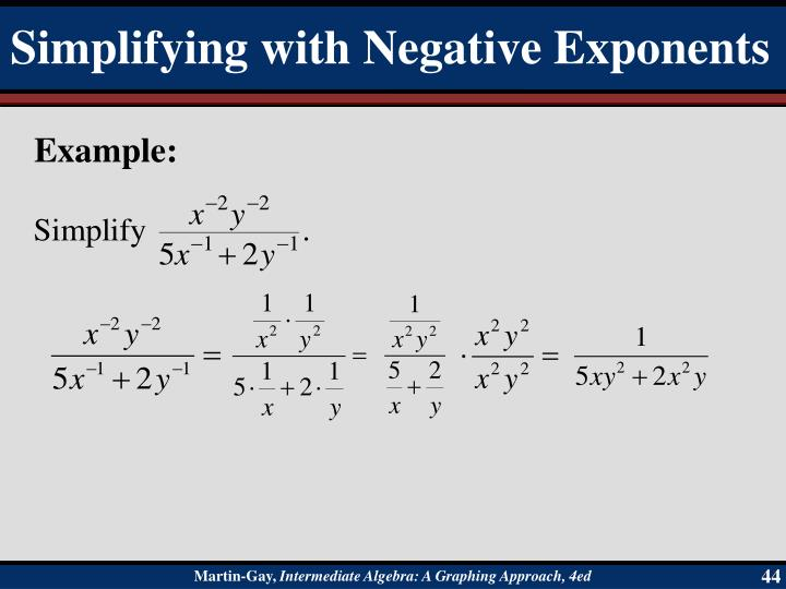 Simplifying with Negative Exponents