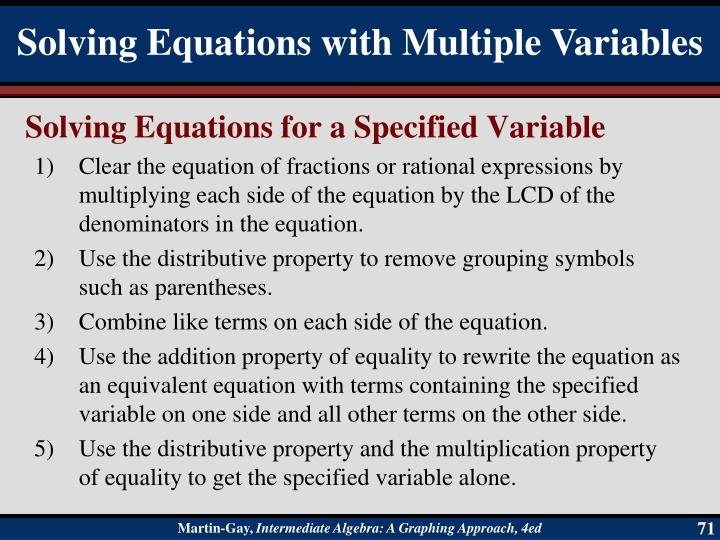 Solving Equations for a Specified Variable
