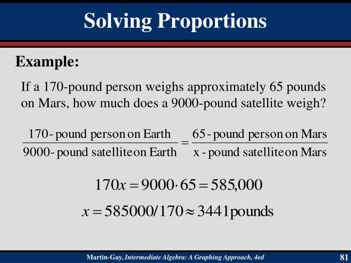 If a 170-pound person weighs approximately 65 pounds on Mars, how much does a 9000-pound satellite weigh?
