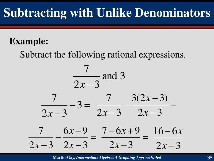 Subtract the following rational expressions.