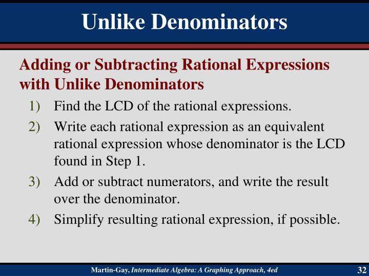 Adding or Subtracting Rational Expressions with Unlike Denominators
