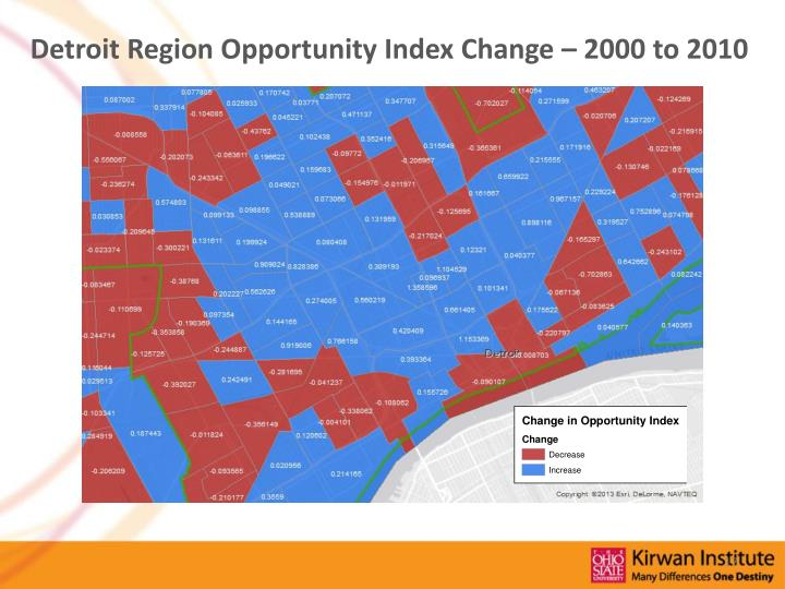 Detroit Region Opportunity Index Change – 2000 to 2010