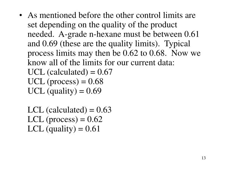 As mentioned before the other control limits are set depending on the quality of the product needed.  A-grade n-hexane must be between 0.61 and 0.69 (these are the quality limits).  Typical process limits may then be 0.62 to 0.68.  Now we know all of the limits for our current data: