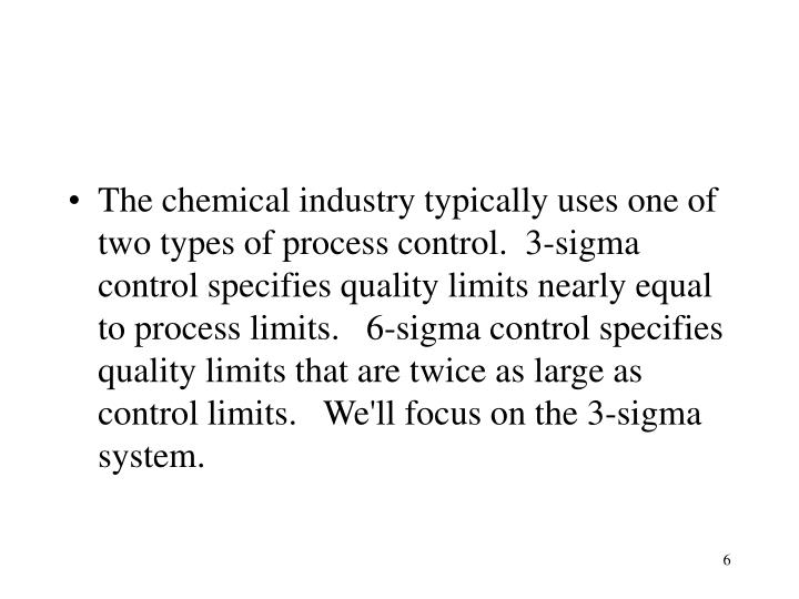 The chemical industry typically uses one of two types of process control.  3-sigma control specifies quality limits nearly equal to process limits.   6-sigma control specifies quality limits that are twice as large as control limits.   We'll focus on the 3-sigma system.