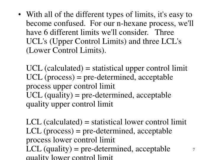 With all of the different types of limits, it's easy to become confused.  For our n-hexane process, we'll have 6 different limits we'll consider.   Three UCL's (Upper Control Limits) and three LCL's (Lower Control Limits).