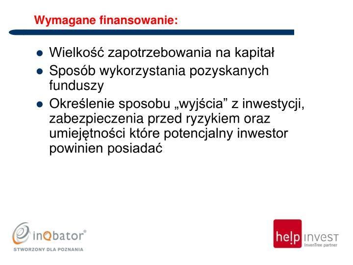 Wymagane finansowanie: