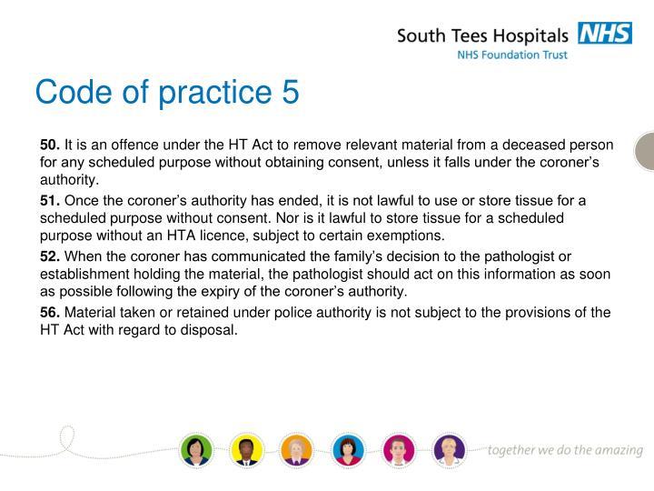 Code of practice 5