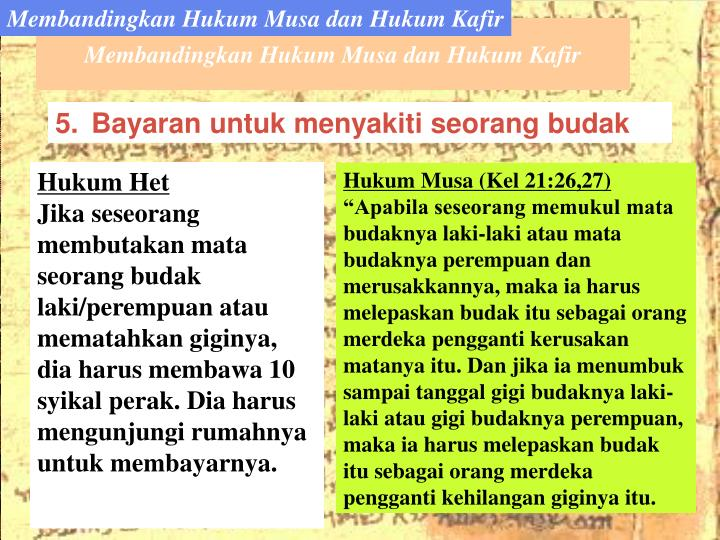 Membandingkan Hukum Musa dan Hukum Kafir