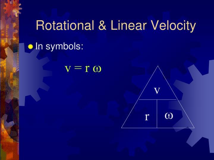 Rotational & Linear Velocity