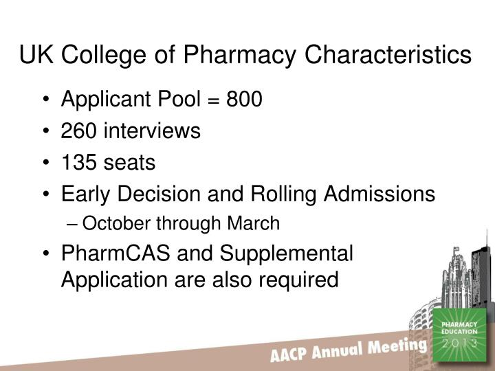 UK College of Pharmacy Characteristics
