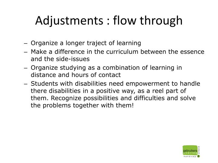 Adjustments : flow through