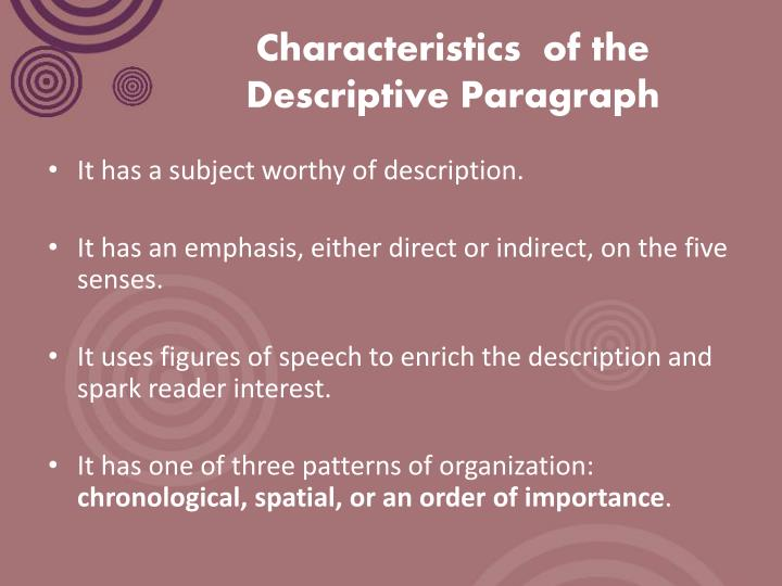 Descriptive essay definition examples & characteristics