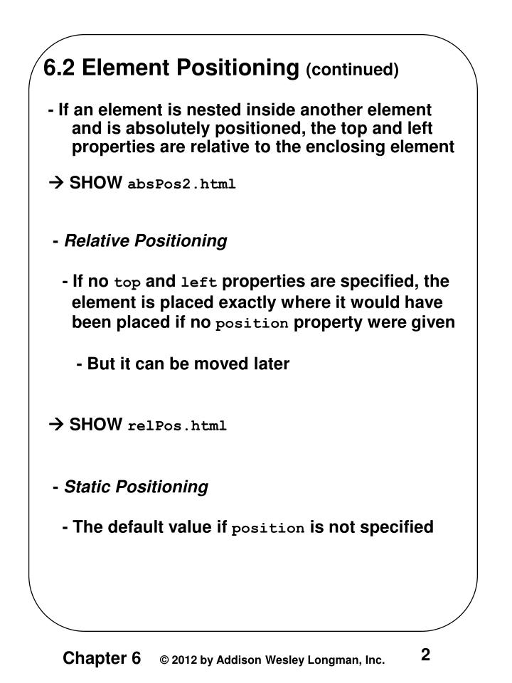 6.2 Element Positioning