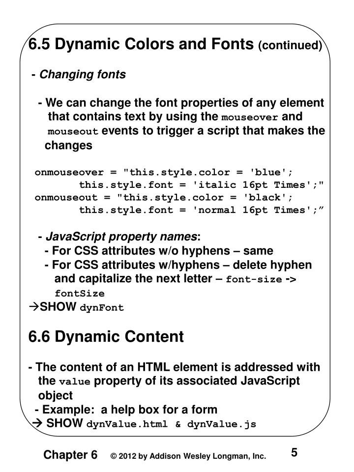 6.5 Dynamic Colors and Fonts