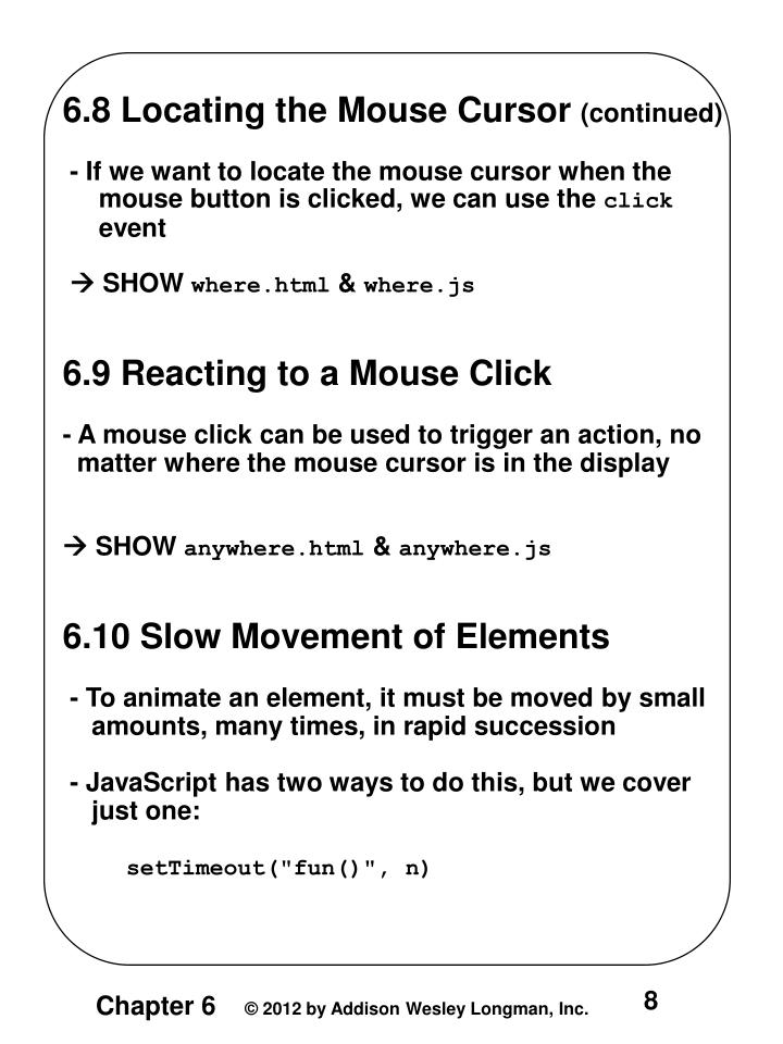 6.8 Locating the Mouse Cursor