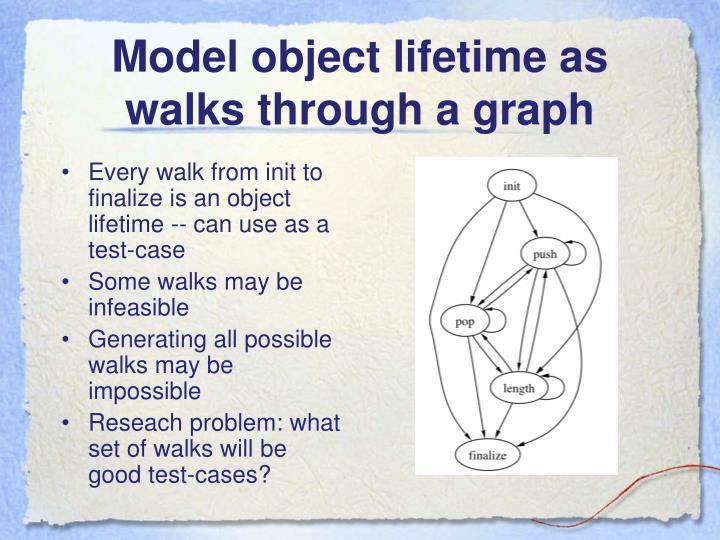 Model object lifetime as walks through a graph