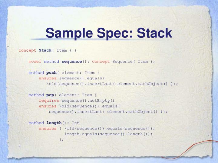 Sample Spec: Stack
