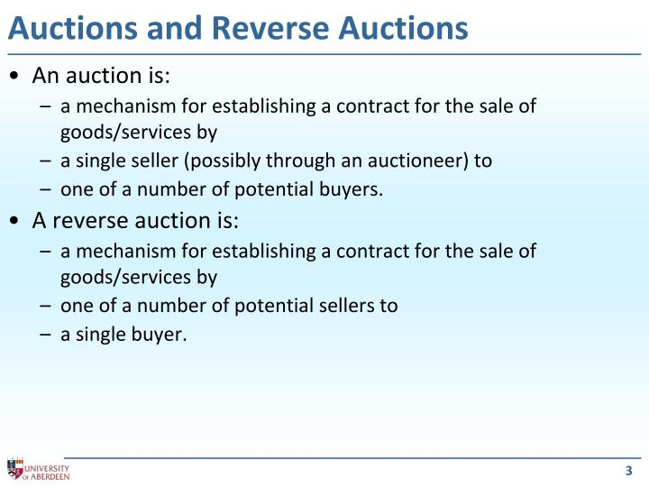 Auctions and reverse auctions