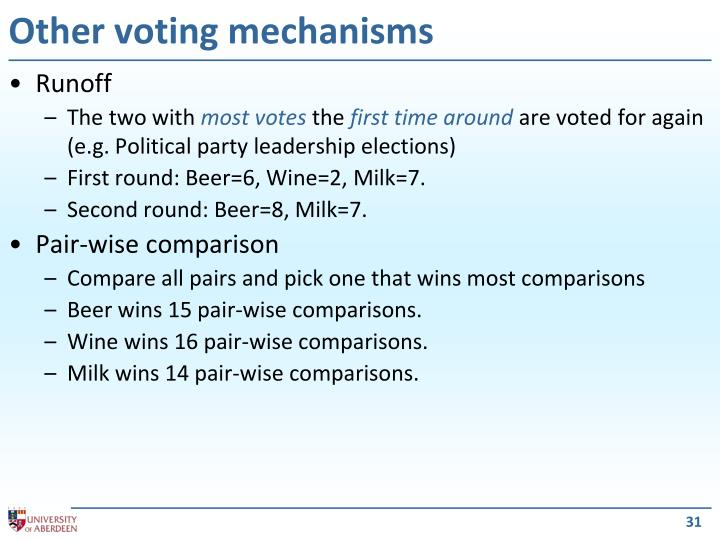 Other voting mechanisms