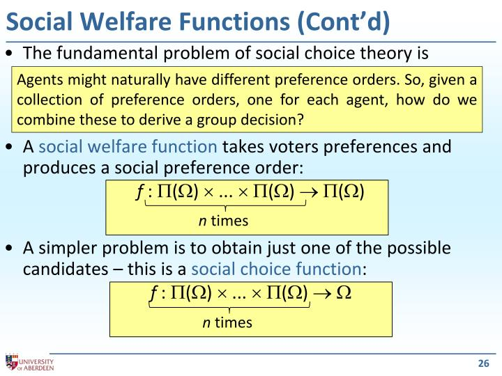 Social Welfare Functions (Cont'd)