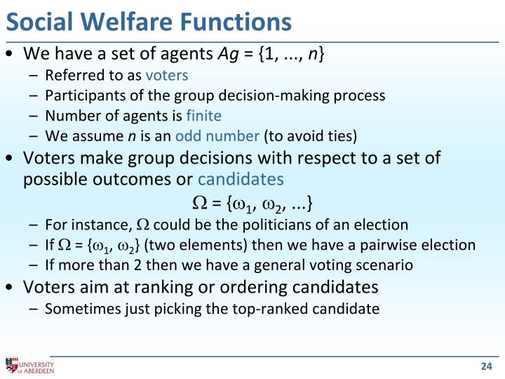 Social Welfare Functions