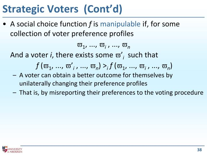 Strategic Voters  (Cont'd)