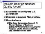 malcom baldrige national quality award