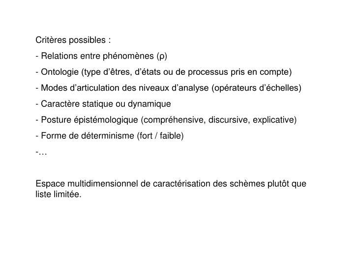 Critères possibles :
